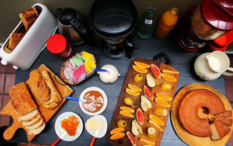 Café da manhã no Hostel Rayuela em Buenos Aires